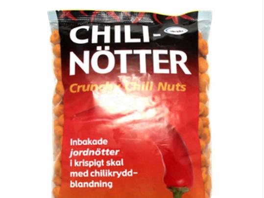 Chilinötter återkallas – innehåller mjölkprotein
