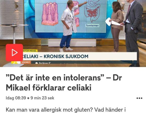 Inslag om celiaki på TV4:s nyhetsmorgon 26 oktober